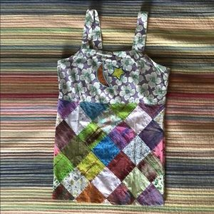 Patchwork backless tank top